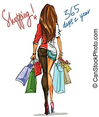 Pretty fashionable woman with shopping bags - Beautiful...