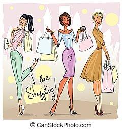 Pretty fashionable women - Pretty women with shopping bags ...