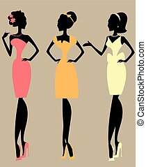 Pretty fashionable women, silhouettes of chatting ladies