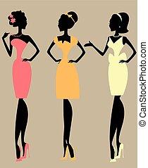 Pretty fashionable women, silhouettes of chatting ladies