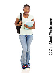female african american university student full length