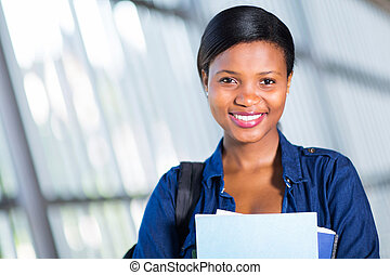 pretty female african american university student portrait
