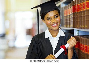 pretty female african college graduate
