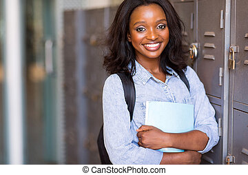female afro american university student