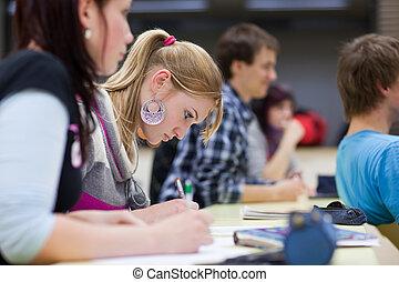 pretty female college student sitting in a classroom