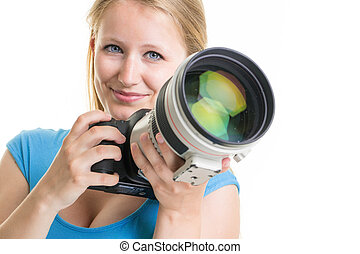 Pretty, female photographer with digital camera