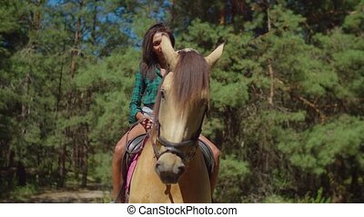 Pretty female sitting in saddle on purebred horse - Portrait...