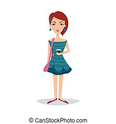 Pretty female student with a fashionable hairstyle in a bondi blue dress and earrings cartoon character vector Illustration
