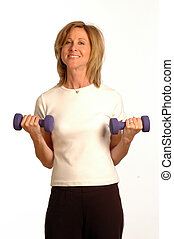 pretty fitness instructor with dumbbells