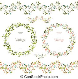 pretty floral collection. cute set seamless borders and wreaths