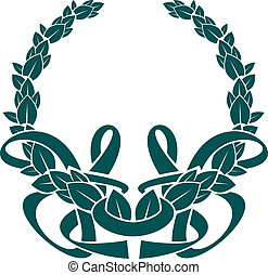 Pretty foliate wreath with an intertwined ribbon