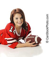 Pretty Football-Loving Teen