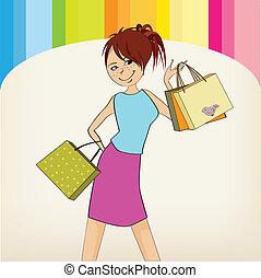 pretty girl at shopping