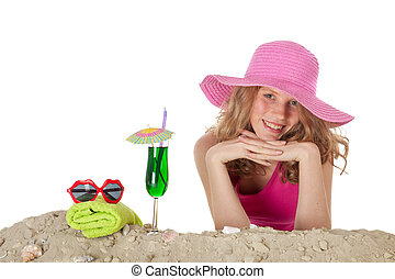 Pretty girl at the beach - Pretty blond girl on summer ...