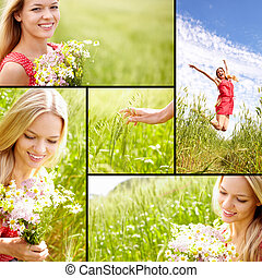 Collage of young woman enjoying summer