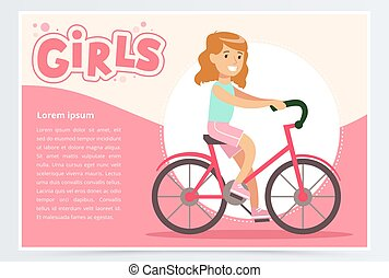 Pretty girl cycling on bicycle, girls banner flat vector element for website or mobile app
