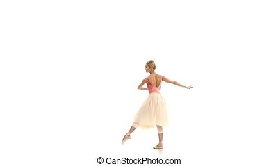 Pretty girl dancing ballet, on white background, slow motion