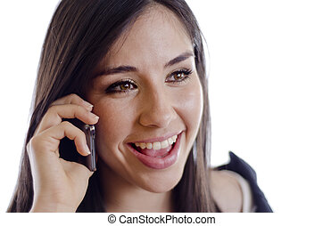 Pretty girl during a phone call