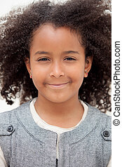 Pretty girl eight years old with beautiful hair