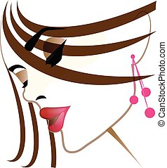 Pretty girl face makeup vector icon