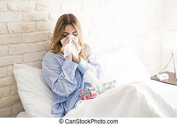 Pretty girl getting a cold