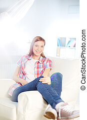 Pretty girl - Happy girl in casual clothes looking at camera...