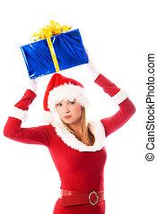 pretty girl holding a Christmas present