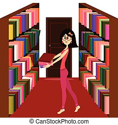 Pretty girl holding books in a libr