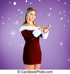 girl holding hands out in santa out