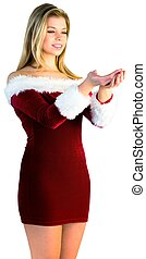 Pretty girl holding hands out in santa outfit