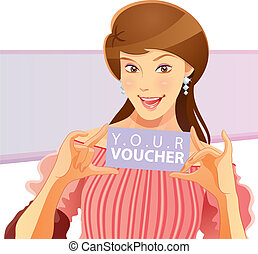 Pretty Girl Holding Voucher - cartoon illustration of girl...