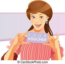 Pretty Girl Holding Voucher