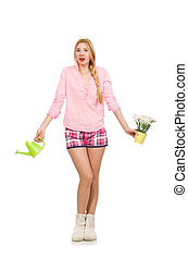 Pretty girl holding watering can and flowers isolated on...