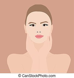 Pretty girl, illustration, vector on white background.