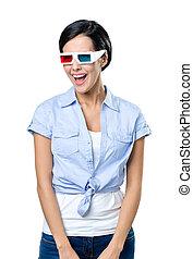 Pretty girl in 3D glasses