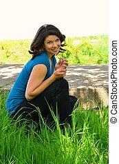 Pretty girl in a Green Meadow II