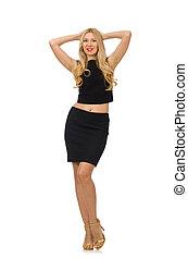 Pretty girl in black mini dress isolated on white