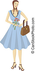 Pretty girl in blue dress