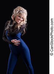 pretty girl in blue lace costume dance and smile