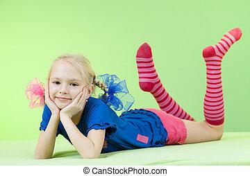 pretty girl in bright clothing or fancy dress