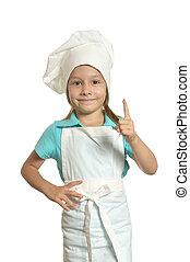 Pretty girl in chef uniform