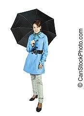 girl in cloak with umbrella