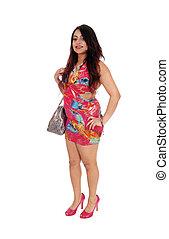 Pretty girl in dress and handbag.