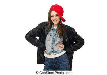 Pretty girl in leather jacket isolated on white