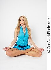 Pretty girl in lotus position
