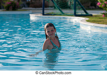 Pretty girl in pool