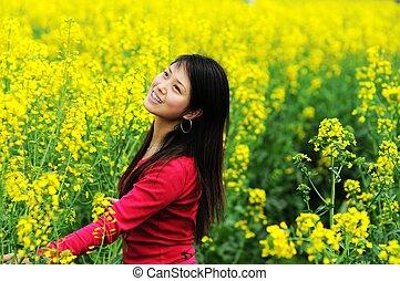 pretty girl in rape flowers