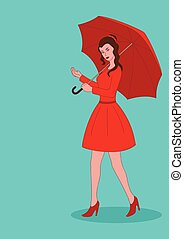 Pretty girl in red dress with umbrella