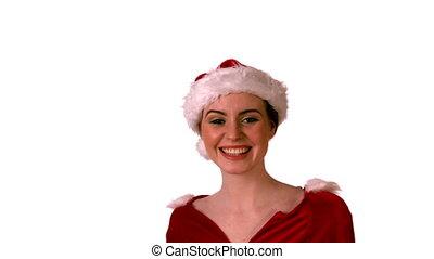 Pretty girl in santa costume smili
