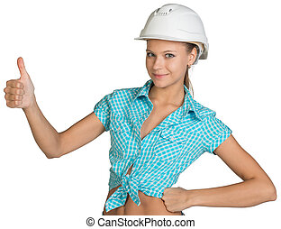 Pretty girl in shirt and white helmet giving thumb up